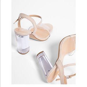 Express tan Lucite heels